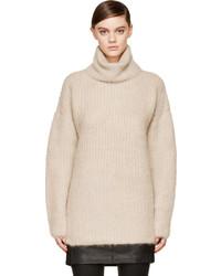 Jersey de cuello alto de punto en beige de Helmut Lang