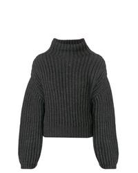 Jersey de cuello alto de punto en gris oscuro de Lanvin