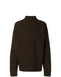 Jersey de cuello alto de punto en marrón oscuro de Tom Ford