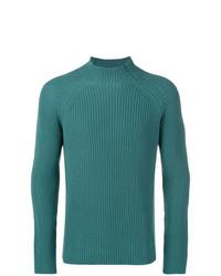 Jersey de cuello alto de punto en verde azulado de Roberto Collina