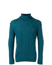 Jersey de cuello alto de punto en verde azulado de Tagliatore
