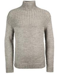 Jersey de cuello alto de punto gris