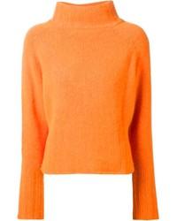 Jersey de cuello alto de punto naranja
