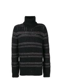 Jersey de cuello alto de punto negro de Saint Laurent