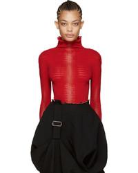 Jersey de cuello alto de punto rojo de Issey Miyake