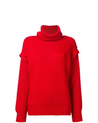 Jersey de cuello alto de punto rojo de Maison Flaneur