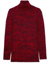 Jersey de cuello alto de punto rojo de Miu Miu