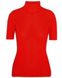 Jersey de cuello alto de punto rojo de Victoria Beckham