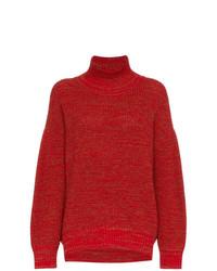 Jersey de cuello alto de punto rojo de Vika Gazinskaya