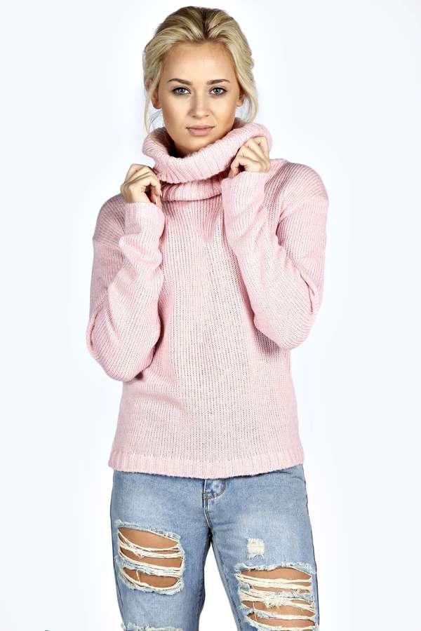 Jersey de cuello alto de punto rosado de Boohoo  dónde comprar y ... fc252c624235