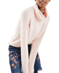 Jersey de cuello alto de punto rosado de Topshop