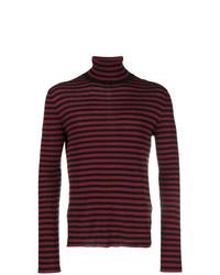 Jersey de cuello alto de rayas horizontales burdeos de Saint Laurent