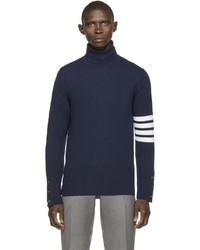 Jersey de cuello alto de rayas horizontales en azul marino y blanco