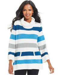 Jersey de cuello alto de rayas horizontales en blanco y azul