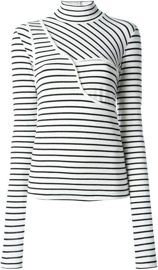 ... Jersey de cuello alto de rayas horizontales en blanco y negro de MM6 MAISON  MARGIELA 5ad70717bf18