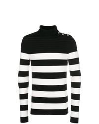 Jersey de cuello alto de rayas horizontales en negro y blanco de Balmain