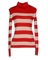 Jersey de cuello alto de rayas horizontales en rojo y blanco