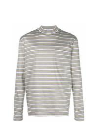 Jersey de cuello alto de rayas horizontales gris de Lanvin