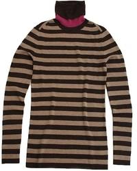 Jersey de cuello alto de rayas horizontales marrón claro