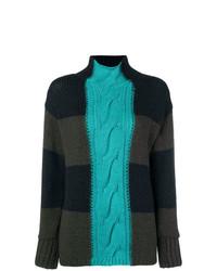 Jersey de cuello alto de rayas horizontales verde oscuro de P.A.R.O.S.H.