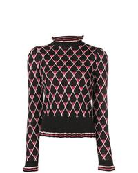 Jersey de cuello alto de rombos negro de Elisabetta Franchi