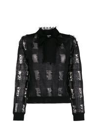 Jersey de cuello alto de tartán negro
