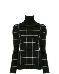 Jersey de cuello alto de tartán negro de Madeleine Thompson