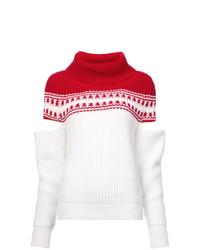 Jersey de cuello alto en blanco y rojo de Monse