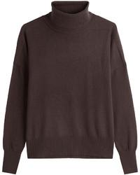 Jersey de cuello alto en marrón oscuro
