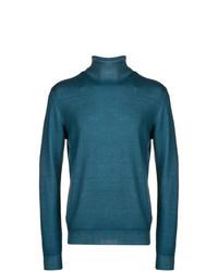 Jersey de cuello alto en verde azulado de Etro