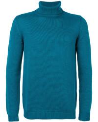 Jersey de cuello alto en verde azulado de Roberto Collina