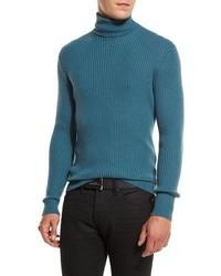 Jersey de cuello alto en verde azulado de Tom Ford