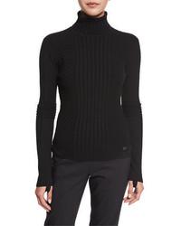 Jersey de cuello alto en zig zag negro