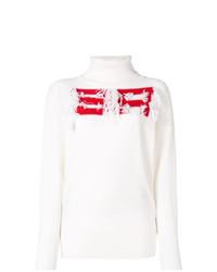 Jersey de cuello alto estampado blanco de Sonia Rykiel