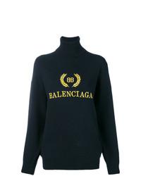 Jersey de cuello alto estampado negro de Balenciaga