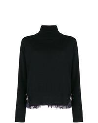 Jersey de cuello alto estampado negro de Sacai