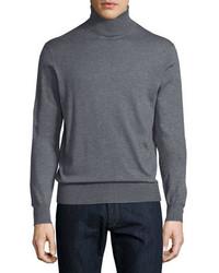 Jersey de cuello alto gris de Neiman Marcus