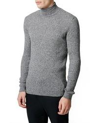 Jersey de cuello alto gris de Topman