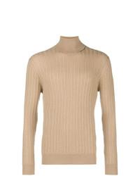 Jersey de cuello alto marrón claro de Eleventy