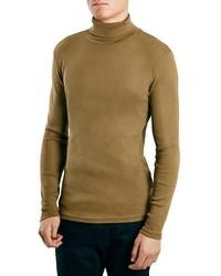 Jersey de cuello alto marrón claro de Topman