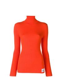 Jersey de cuello alto naranja de Calvin Klein Jeans