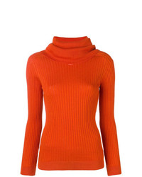 Jersey de cuello alto naranja de Courreges
