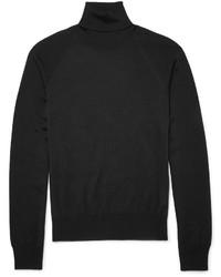 Jersey de cuello alto negro de Jil Sander