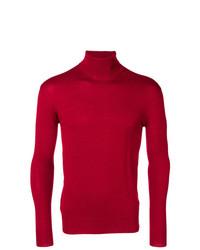 Jersey de cuello alto rojo de Raf Simons