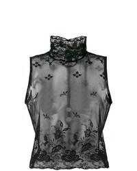 Jersey de cuello alto sin mangas de encaje negro de Ann Demeulemeester