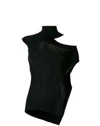 Jersey de cuello alto sin mangas negro de Ann Demeulemeester