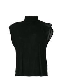 Jersey de cuello alto sin mangas negro de MM6 MAISON MARGIELA