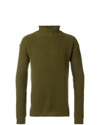 Jersey de cuello alto verde oliva de Rick Owens