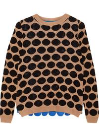Jersey de encaje estampado marrón claro de Marni