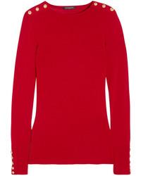 Jersey de lana con adornos rojo de Balmain
